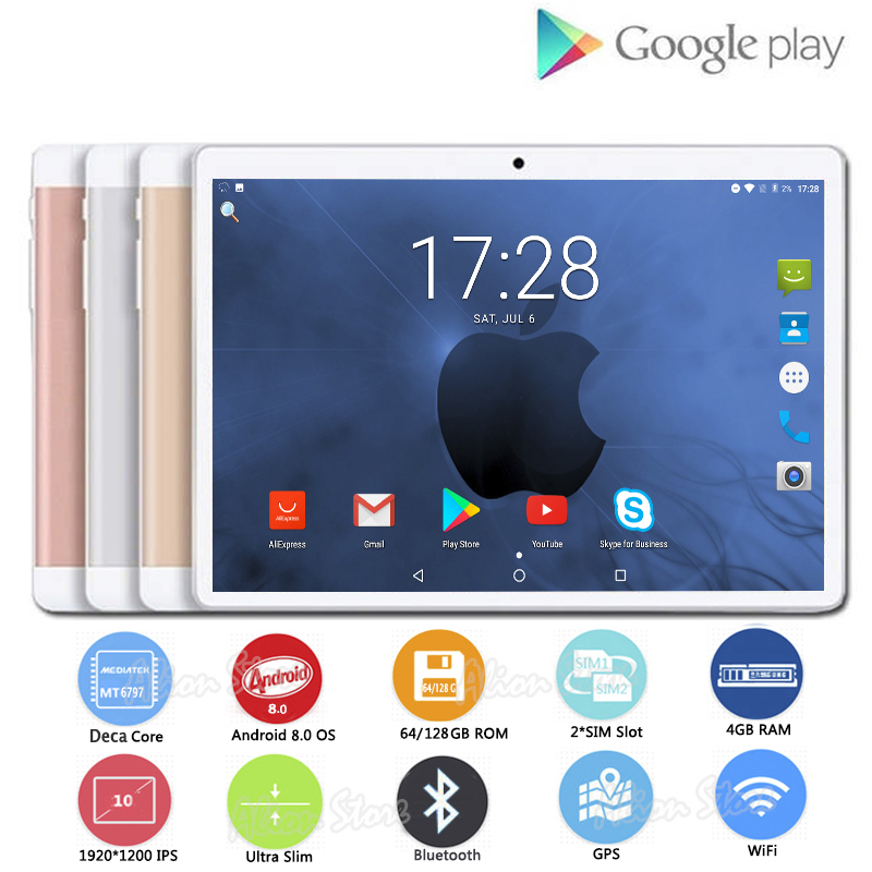 Fashion 1920*1200 IPS HD 10 inch 4G LTE Tablets Deca Core Android 8.0 RAM 4GB ROM 128GB Dual SIM Cards 10.1 inch Tablet PCs+Gifs