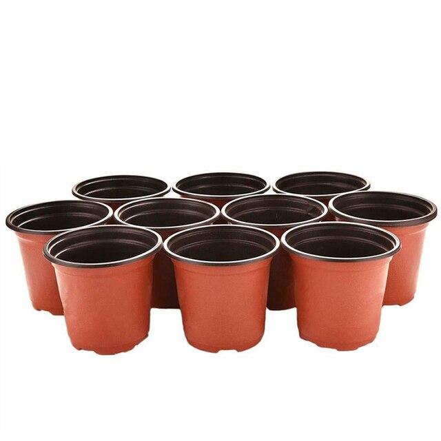 100pcs 식물 꽃 냄비 플라스틱 시작 2 톤 유니버설 부드러운 꽃 보육 씨앗 스토리지 냄비 컨테이너 정원 장식