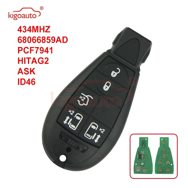 Kigoauto #9 05026197AD Caliber,Journey,Grand Cherokee,Voyager Fobik key 5 button 434Mhz for Chrysler European model No panic