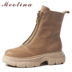 Meotina Genuine Leather Platform Flat Ankle Boots Women Shoes Round Toe Zipper Female Short Boots Autumn Winter Apricot Size 41