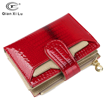 Fashion Leather Women Wallets Short Coin Purse Small Wallet Coin Pocket Real Patent Leather Card Holder Pocket Wallet for Female