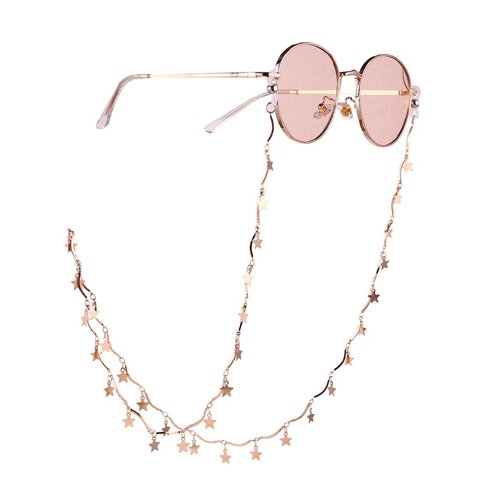 Chic Womens Gold Star Shape Anti-Slip Eyeglass Chains Sunglasses Reading Glasses Chain Eyewears Cord Holder Neck Strap Lanyard