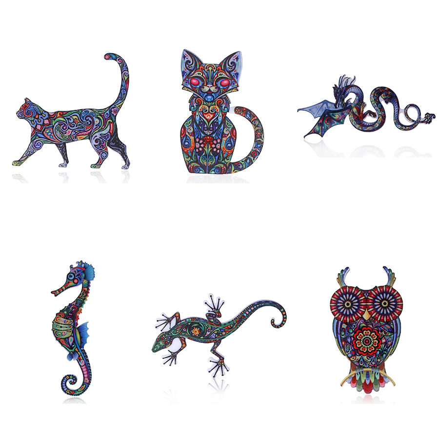 Meow chat Dragon acrylique broches hippocampe mer Animal Gecko Unique lézard Vintage hibou mignon mode Animal bijoux bijoux accessoires