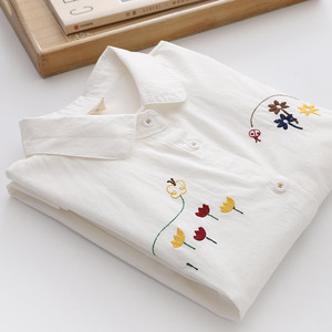 Women Blouses Shirts Tunic Womens Tops 2020 Long Sleeve Clothing Button Up Down White Embroidery Flower Casual New Autumn Good