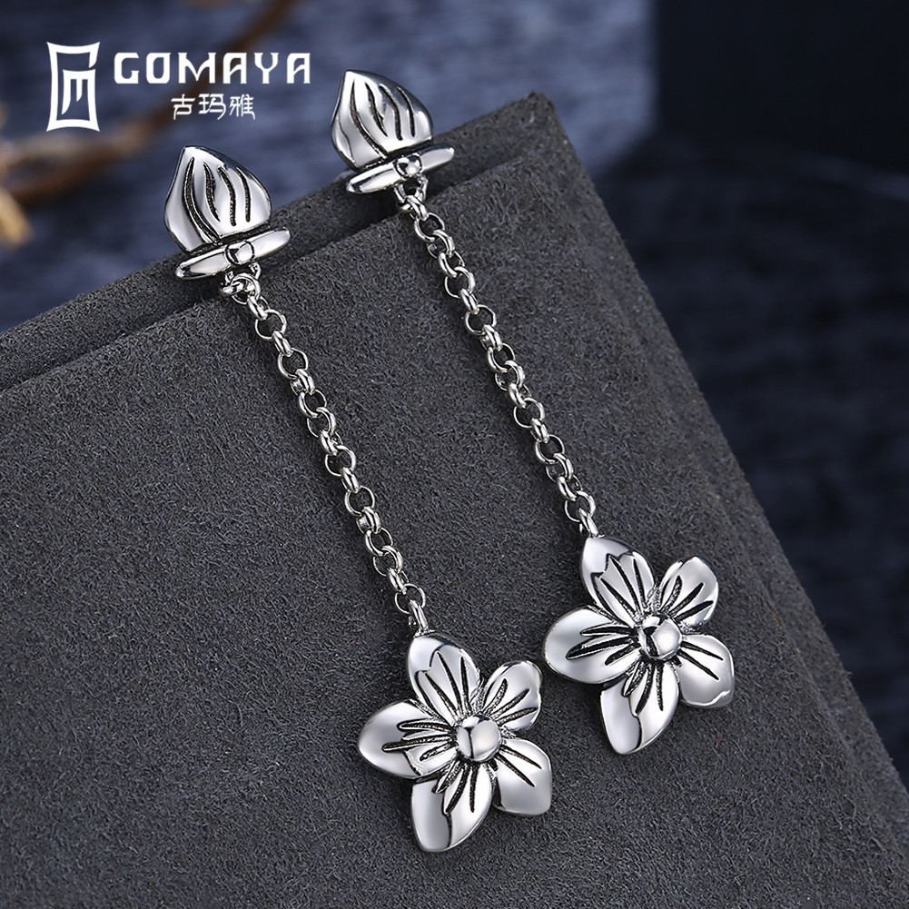 GOMAYA 925 Sterling Silver Flower Drop Earrings Vintage Style for Women Lady Girls Gift Fine Jewelry