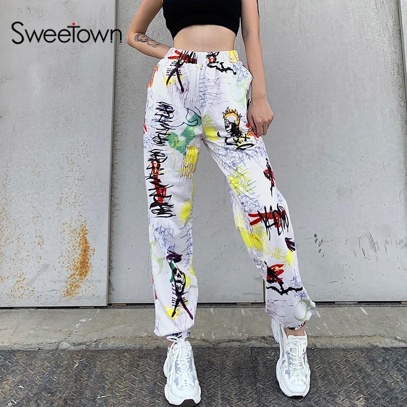 Sweetown Graffiti Baggy Women Jogger Sweatpants Casual Elastic High Waist Running Trousers Female Hip Hop Streetwear Harem Pants(China)