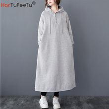 Осень зима 2020 флисовое платье с капюшоном Повседневная теплая