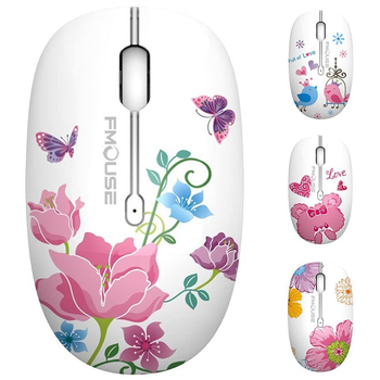 Original FMOUSE M101 Mouse 1600 DPI Lovely Girls Mute Wireless Mouse with Mouse Pad Optical Mouse For Cute You Laptop