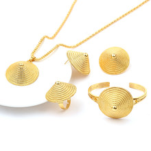 Ethiopian Wedding Bridal Jewelry Set 24K Gold Color Necklace/Earring/Ring/Bangle/Pendant Jewelry African/Nigeria/Arab Women Item(China)