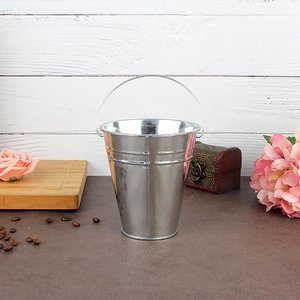 1pcs/4.5in Silvery Color Galvanized Mini Buckets tin pots Small Pails Flower pot Zinc Succulent planters Tin Bucket Flower Pot