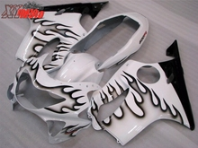 New ABS Fairing Kit For Honda CBR600F F4 1999-2000 Injection Motorcycle plastics 99-00 Black Flame White Bodywork