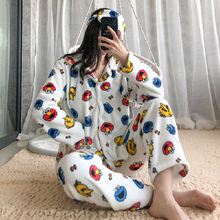 Suit Nightwear Sleepwear Plush-Pajamas Street-Anime Winter Women Sets Warm Cartoon Home