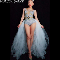 Sexy Stage Silver Gold Rhinestones Long Sleeves Bodysuit white Mesh Tail Birthday Celebrate Outfit Women Singer Dance Bodysuit