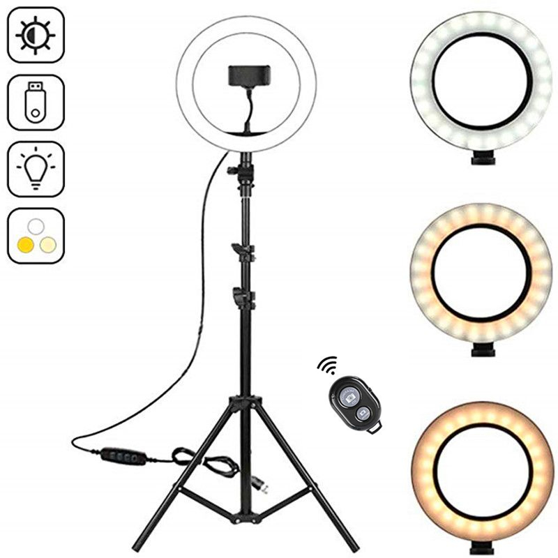 26cm USB LED Light Ring Photography Flash Lamp With 160cm Tripod Stand For Makeup Youtube VK Video Dimmable Lighting image