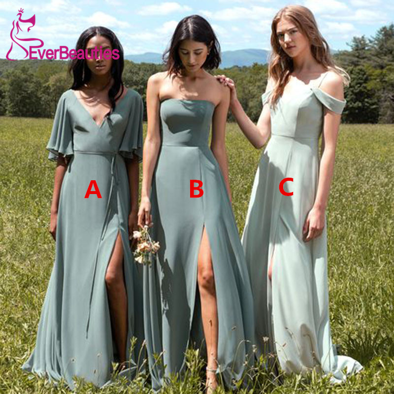 Robe Demoiselle D'Honneur Sage Green Bridesmaid Dresses Long 2020 Chiffon Wedding Guest Dress Sexy Side Slit Vestido Madrinha