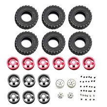 Metal Wheel Rim with Rubber Tire Upgraded Spare Parts for WPL Henglong C14 C24 4x4 Truck Crawler
