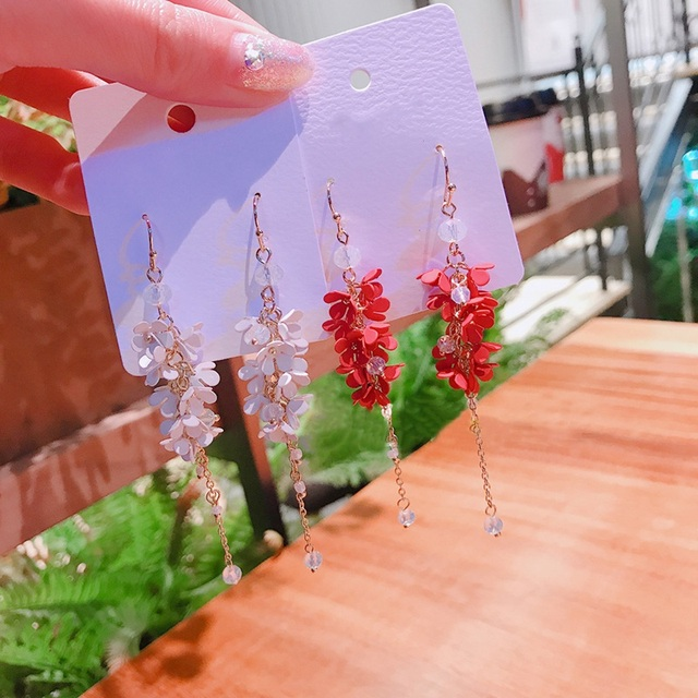 MENGJIQIAO New Handmade Metal Flower Beads Tassel Drop Earrings For Women Students Accessories Fashion Jewelry Long Pendientes
