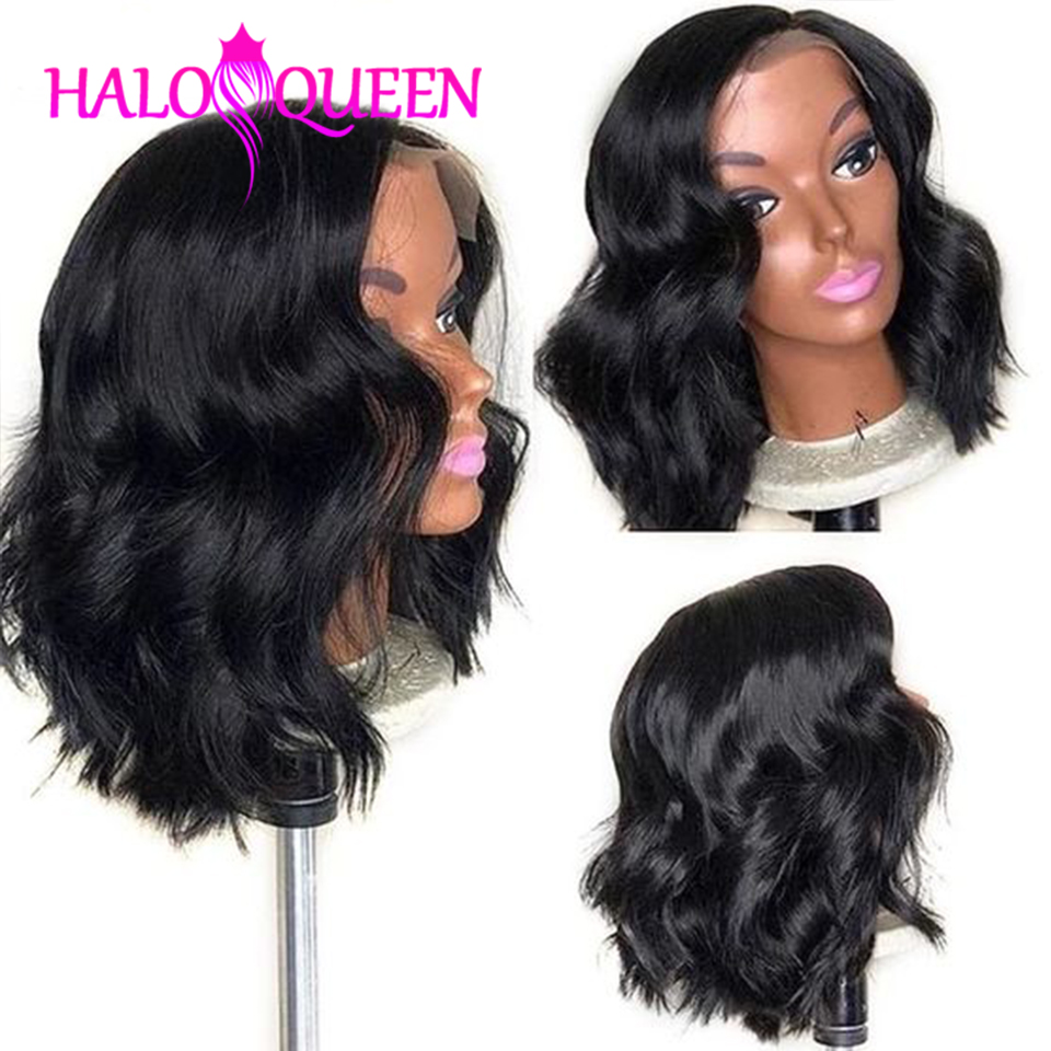 HALOQUEEN Hair Short Human Hair Wigs Peruvian Body Wave Wig Hair Wavy Short Lace Front Non-Remy Human Hair Wigs For Black Women