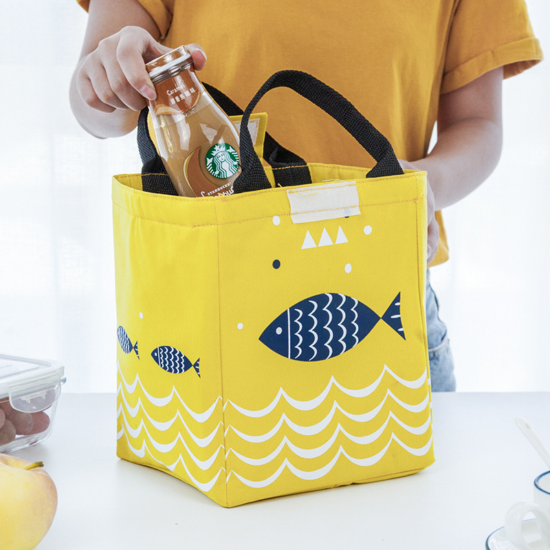 Large Thick Aluminum Foil Insulated Lunch Box Bag Cute Little Fish Food Carrying Of Carry Bag Waterproof Carrying Lunch Bag