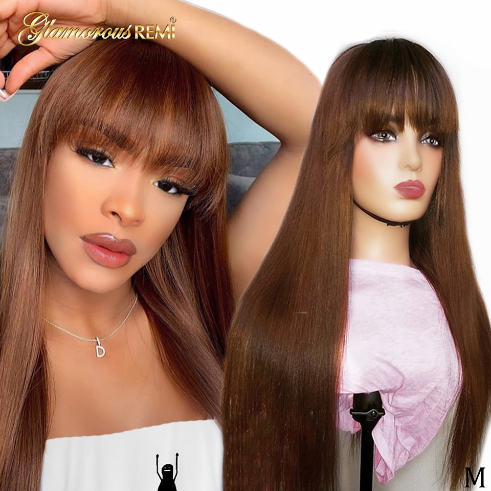Brazilian Straight Lace Front Wigs With Bangs 150% Density 13x6 Human Remy Hair For Woman #4 Pre Plucked Glueless Lace Front Wig