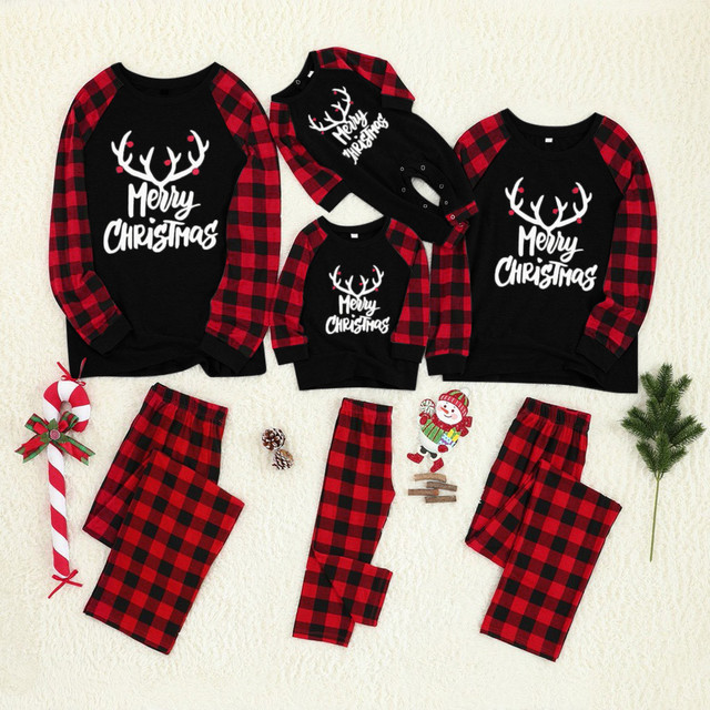 merry christmas family pajamas set mother daughter father son romper sleepwear dad mom matching outfits Tops+Pants baby clothes Family Matching Outfits For All (0-3 years) Kid (3+ years) Shop by Age