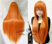 Jewelry Wig Hatsune Miku Orange-yellow Long Straight Anime party Cosplay Full Wig 80cm Free Shipping(China)