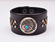 Fashion Southeast Indian-Head Blue Turquoise DIY Handcraft Studd Concho Wide Leather Bracelet Black Cuff Wristband Unisex(China)