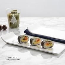 Vaisselle d'hôtel en céramique blanche Pure, assiette plate rectangulaire, assiette latérale déformée, assiette à sushi, assiette à gâteau, plat de style occidental