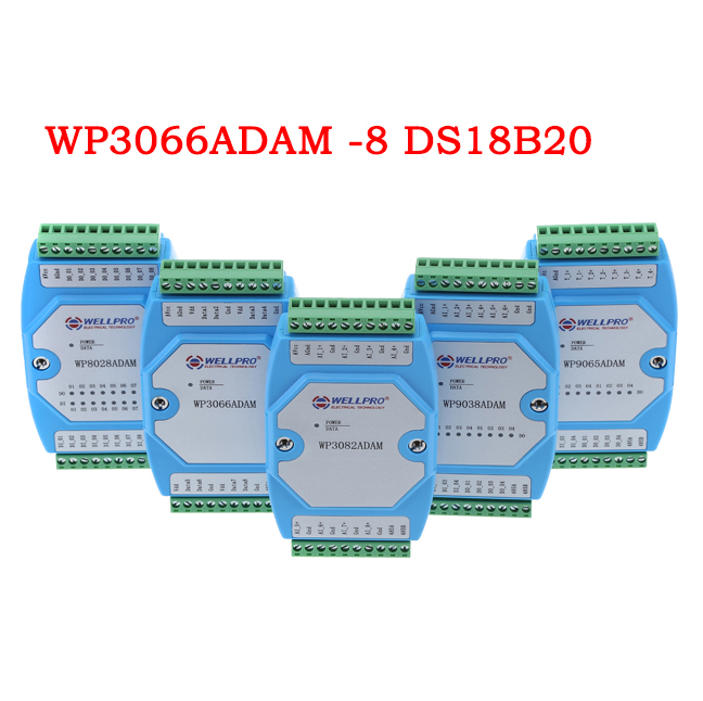 8 channel input temperature sensor <font><b>DS18B20</b></font> module RS485 RTU <font><b>MODBUS</b></font> WP3066ADAM image