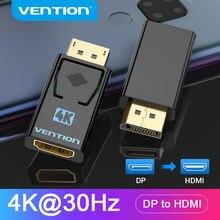Vention dp para hdmi adaptador 4k dp macho para hdmi fêmea vídeo conversor de áudio para computador portátil projetor porta de exibição para hdmi adaptador