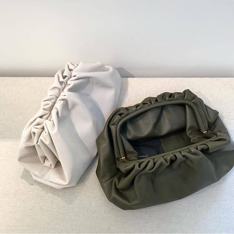 day clutch party envelope purse women large big ruched pillow bag leather handbag summer bag white black green