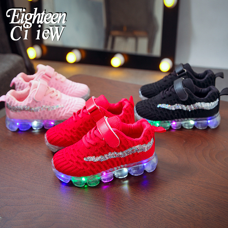 Glowing Sneakers LED Lighted Children's Shoes 2020 New Children Casual Shoes Girls Soft Bottom Light Shoes Crystal Luminous Sole