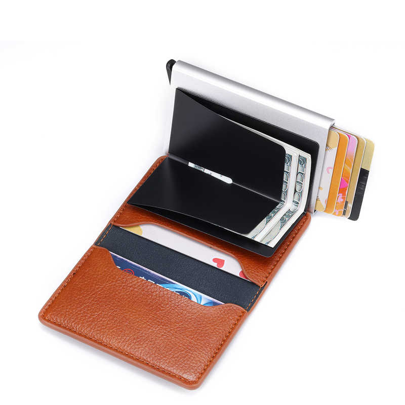 Bisi Goro 2020 Rfid Anti-Diefstal Credit Kaarthouder Mannen Business Bank Id Holder Metal Aluminium Pu Lederen Kaart case Voor Reizen