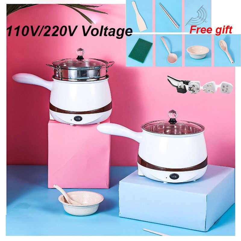 110 V/220 V Multifungsi Listrik Pemanasan Pan Listrik Memasak Pot Mesin Hotpot Telur Sup Steamer Beras cooker