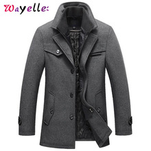 Winter Wool Men Jacket 2019 Slim Casual Warm Outerwear Jacket and Coat Men Zipper Solid Thick Men Jackets Plus Size M-4XL цена 2017