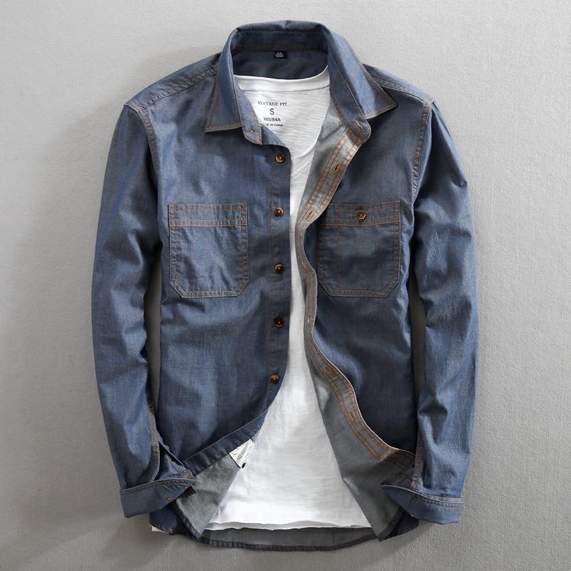 Men Jeans Shirt Pure Cotton Regular Fit Long Sleeve Fashion Mens Dress Shirts Denim Casual Double Pocket