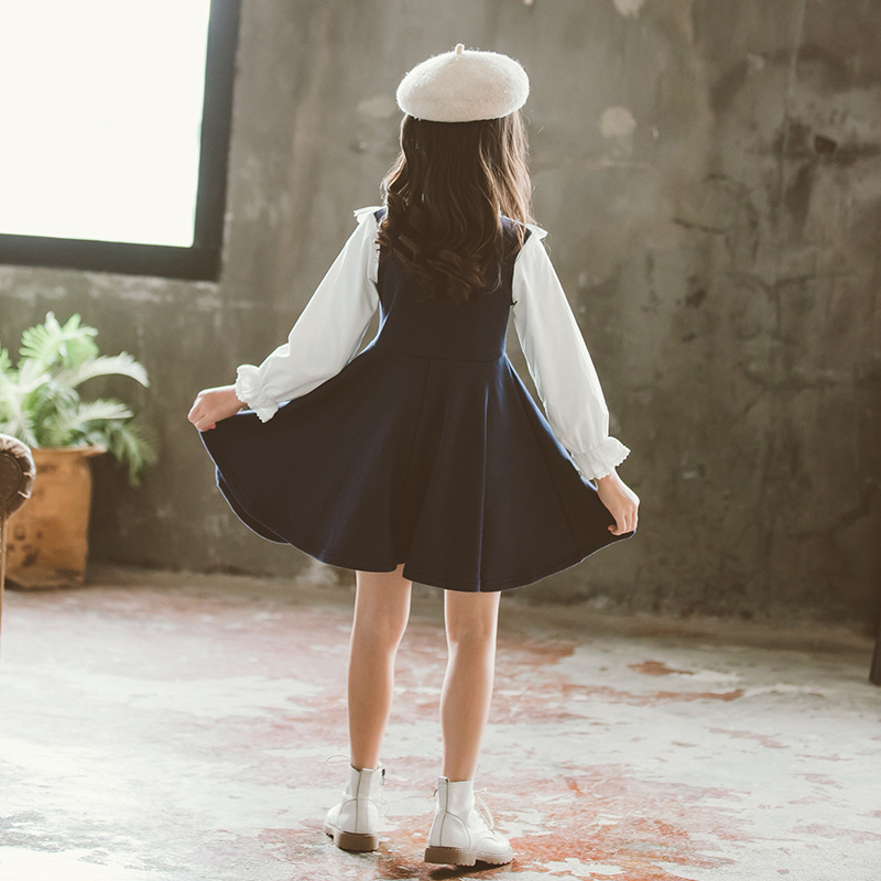 Back To School 2019 New Girls Clothing Dress Baby Casual Dress Kids Patchwork Fall Clothes Children Long Sleeve Dress Blue White 1