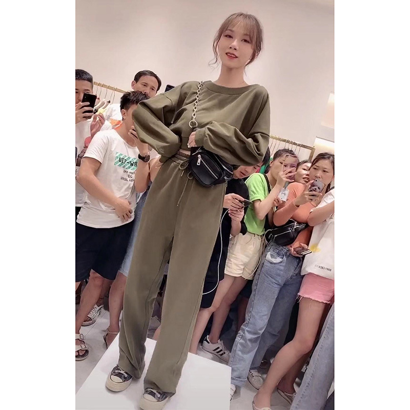 Kaka Celebrity Style Early Autumn Korean-style 2019 New Style INS Loose-Fit Navel Short Sports Long-sleeve Suit