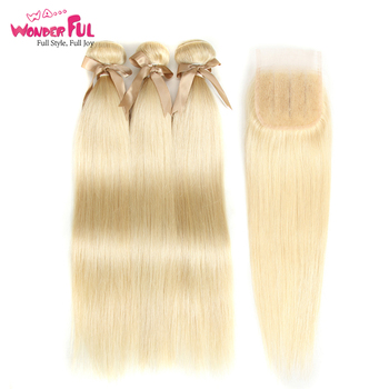 Remy Indian Straight Hair Bundles With Closure Blonde Color Lace Closure With Bundles Human Hair Extension 613 blonde hair