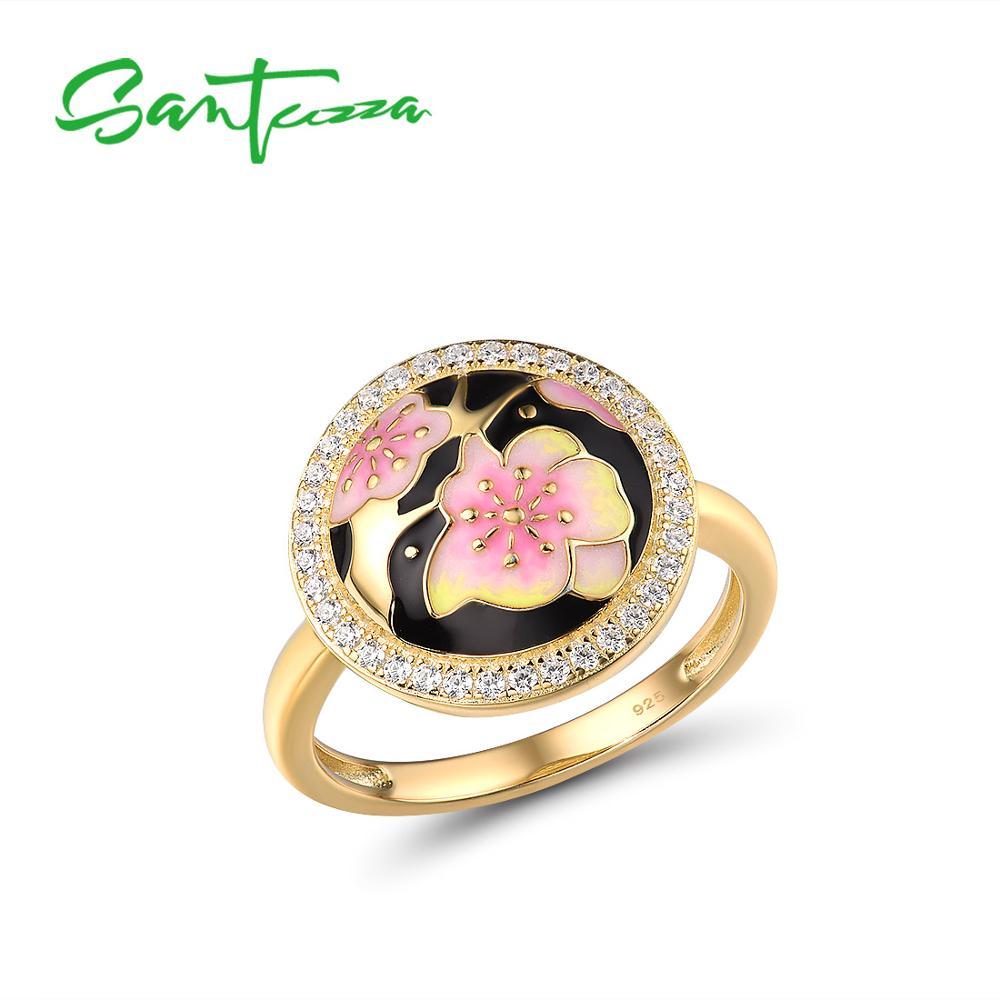 SANTUZZA Silver Rings For Women Pure 925 Sterling Silver Black Pink Cherry blossoms Flower Trendy Fine Jewelry Handmade Enamel