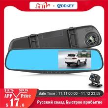 Addkeyフルhd 1080p車dvrカメラオート4.3インチバックミラーダッシュデジタルビデオレコーダーデュアルレンズregistratoryビデオカメラ