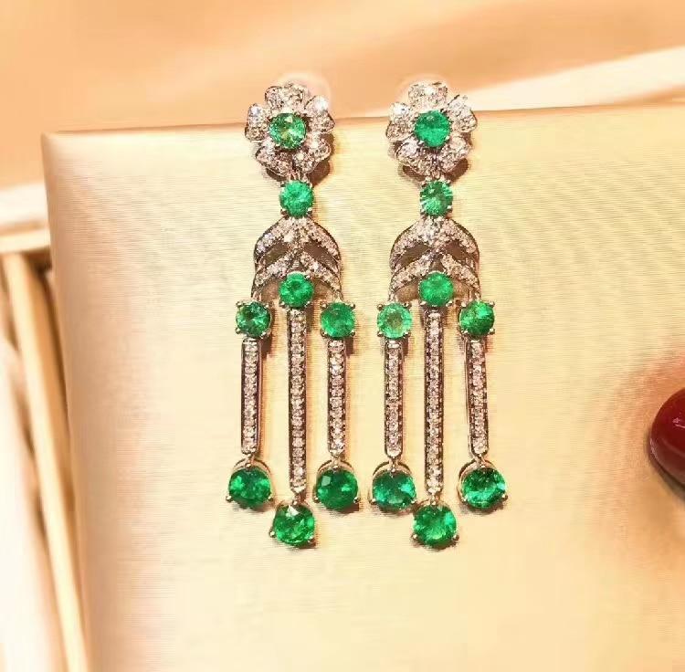 Vert émeraude pierre gemme boucle d'oreille pour les femmes argent bijoux fins certifié naturel gemme classique couleur verte 925 argent goujon oreille