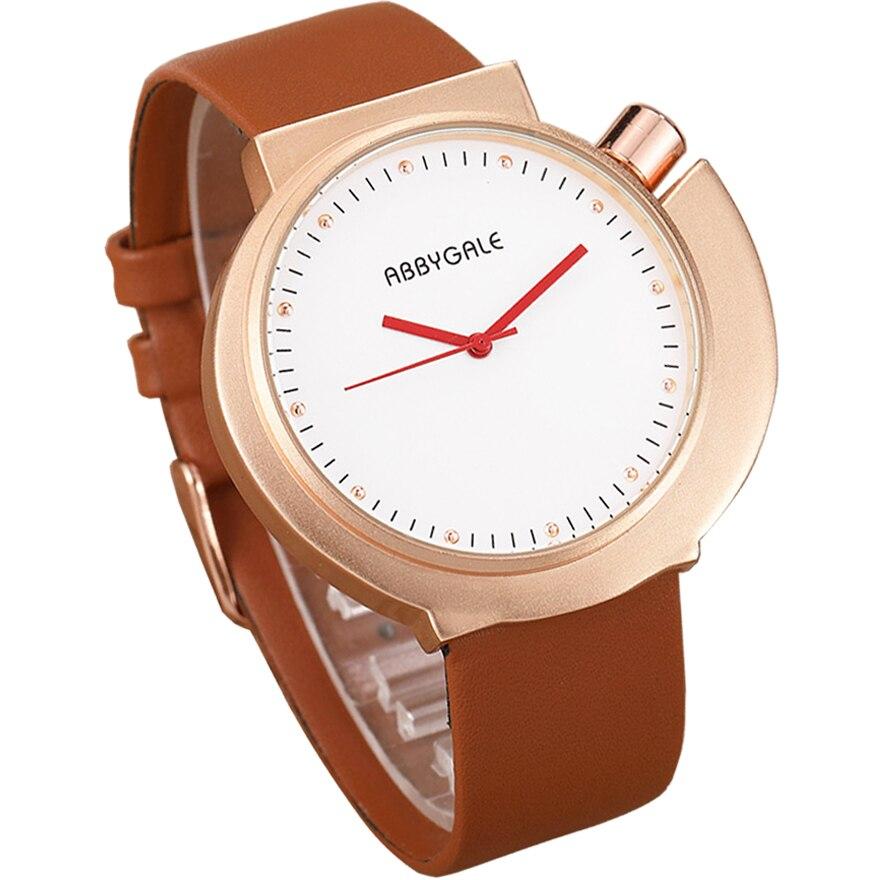 Unique Creative Watch Fashion Ladies Wrist Watch Casual Vintage Reloj Mujer White Brown Leather Quartz Clock Relogio Feminino