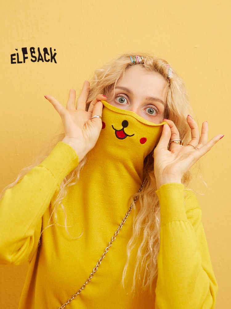 Elfsack 여러 가지 빛깔의 솔리드 만화 인쇄 니트 귀여운 풀오버 스웨터 여성 2020 겨울 특별 한국 긴 소매 숙녀 기본 탑스