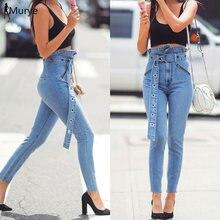 Новинка синие джинсы женские брюки Капри высокая талия обруч