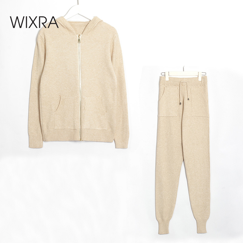 Wixra Women Zipper Cardigan Sweater Suit And Sets Knitted Sweaters 2 Piece Sets Casual Knitted Tops +Trousers