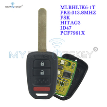 Remtekey Remote key 2 button with panic HON66 blade 313.8mhz MLBHLIK6-1T for Honda Accord Civic CRV 2013 2014 2015 free shipping 1pcs new offer kd900 remote nb10 3 1 button remote key with nb xtt new honda model for 2013 2015 honda