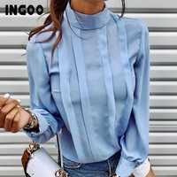 INGOO Herbst Rollkragen Büro Frauen Hemd Laterne Langarm Rüschen Plissee Blusen Taste Elegante Blau Weiß Shirts Weibliche