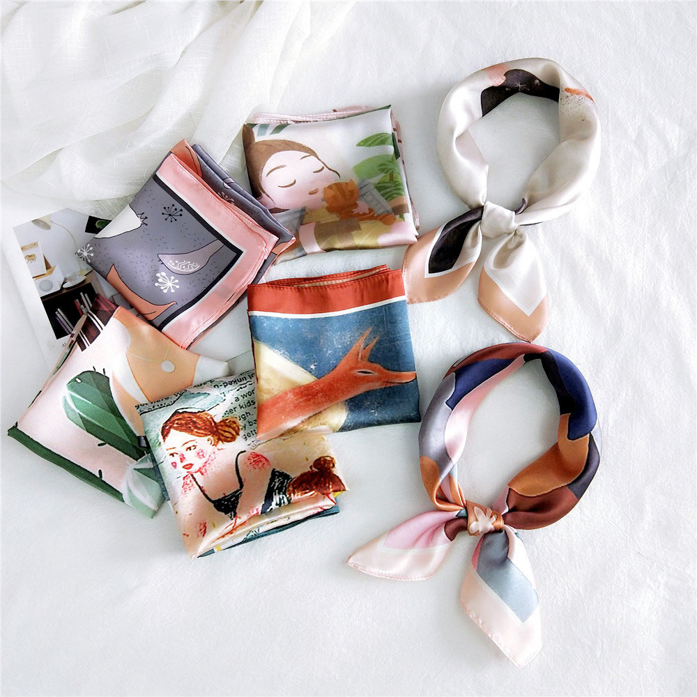 2020 Spring Summer Fashion Square Scarf Hair Tie Band Women Elegant Vintage Scarf Female Head Neck Silk Scarf