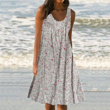Dress 2020 Women Casual Print Sleeveless Loose Plus Size Beach Summer Maxi Dress Ladies(China)